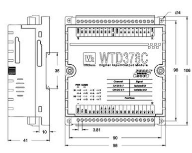 具有8路隔离的数字量或独立计数器输入通道,支持干接点及双向湿接点