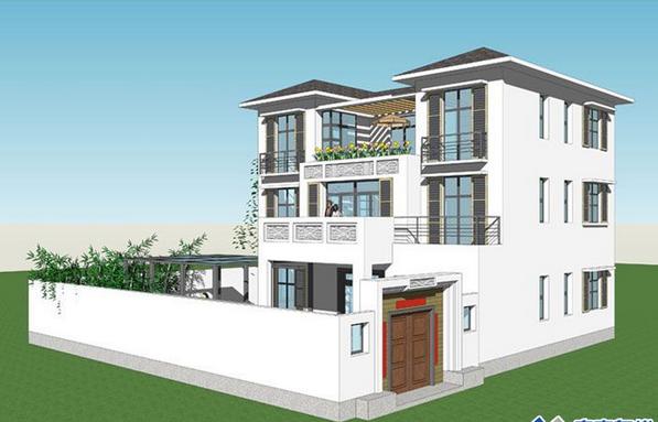 110平米农村三层别墅设计图