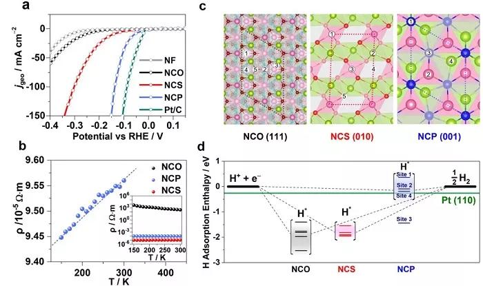 (c)氢原子吸附材料表面的原子结构示意图;        (d)nco(111