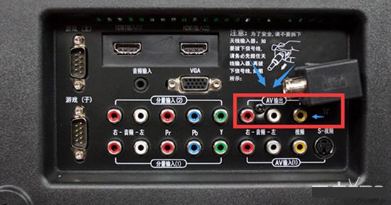 2,功放机的后面找到音频输入插口
