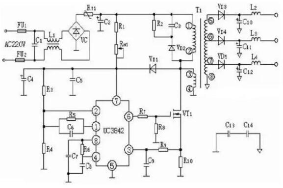 2,top224p构成的12v,20w开关直流稳压电源电路