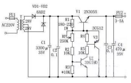 直流电压从3v到15v连续可调的稳压电源,最大电流可达10a,该电路用了