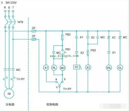三相感应电动机故障警报控制电路图