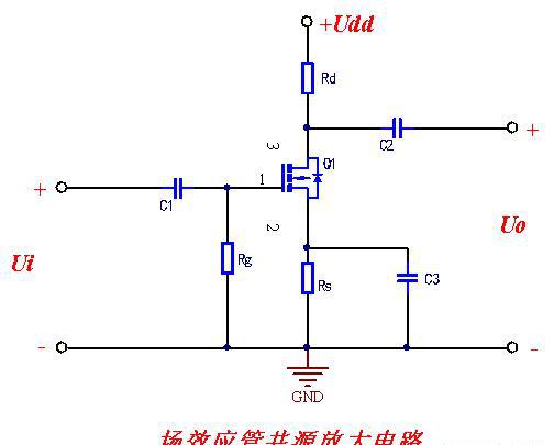 与三极管一样,根据输入,输出回路公共端选择不同,将场效应管放电电路