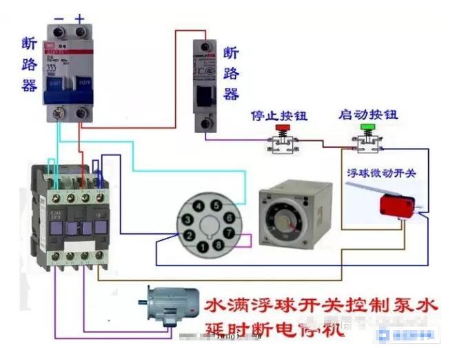 电动机带延时功能控制接线电路图