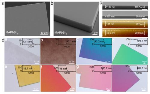 百纳米级厚度的钙钛矿单晶薄膜可直接制备太阳能电池等器件