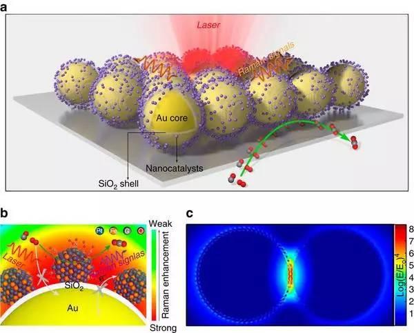 一种利用壳层隔绝纳米粒子增强拉曼光谱原位监测纳米催化过程的方法(SHINERS卫星策略)