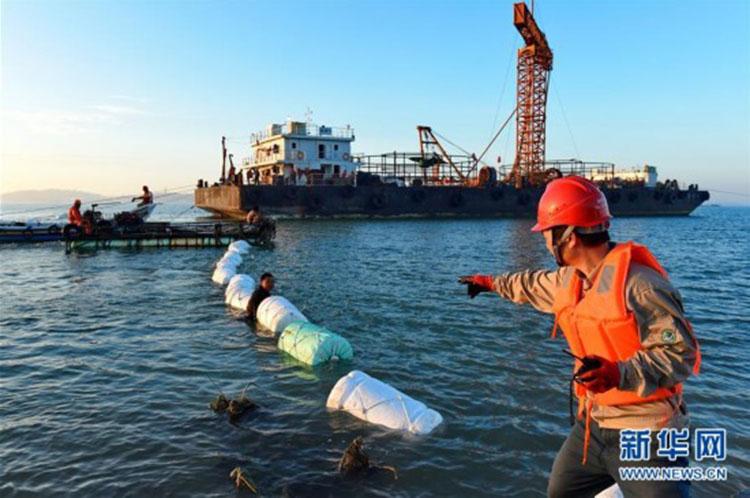 福建忠田村至湄洲岛110千伏海底电缆线路在湄洲湾海域敷设成功