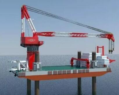"""世界最大的""""龙源振华叁号""""2000吨风电施工平台下水"""