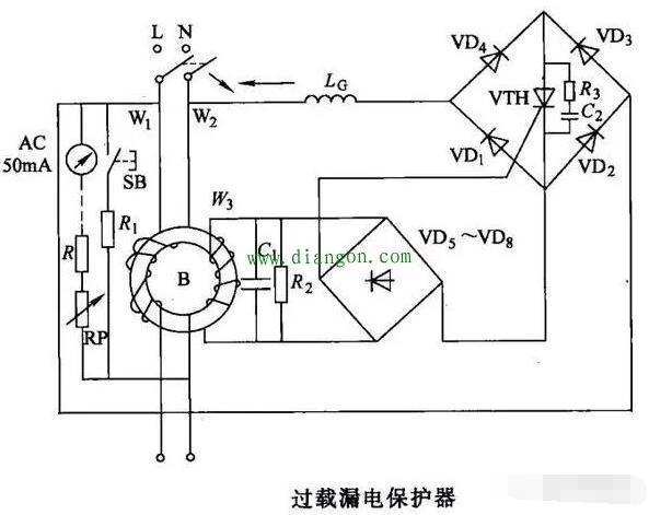 漏电保护器过载保护电路原理图解