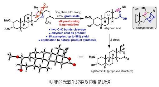 一种通过碳-碳双键断裂将呋喃转化为炔烃的方法