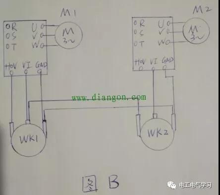 用两台变频器同步控制两台电动机