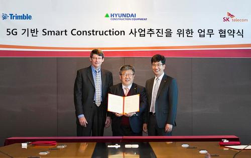 SK电讯、现代和Trimble公司宣布:将把5G技术应用于建筑设备管理