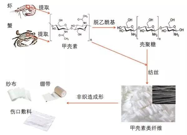 甲壳素类纤维的制备和应用流程示意图
