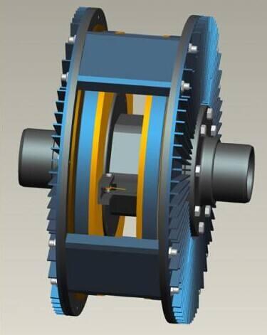 不利姿态弹射塔垂直轨道永磁涡流制动系统