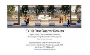 苹果宣布调低2019年Q1营收预期,并于1月29日公布Q1营收情况