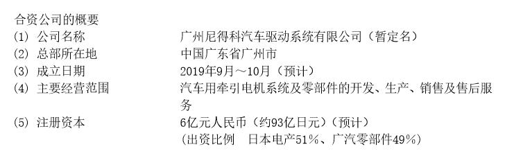 日本电产与广汽成立牵引电机合资公司