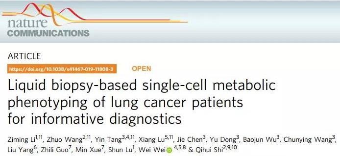 中美科学家开发单细胞代谢功能检测工具,助力肿瘤精准诊断