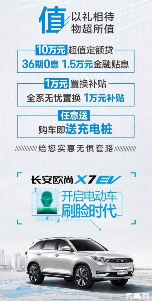 长安欧尚X7 EV正式上市:售价15.99万起,搭载人脸识别系统