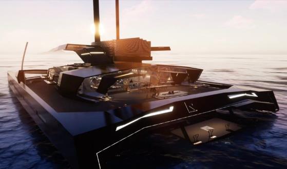 新型全碳纤维豪华水翼双体船问世,设计更像隐形战斗机