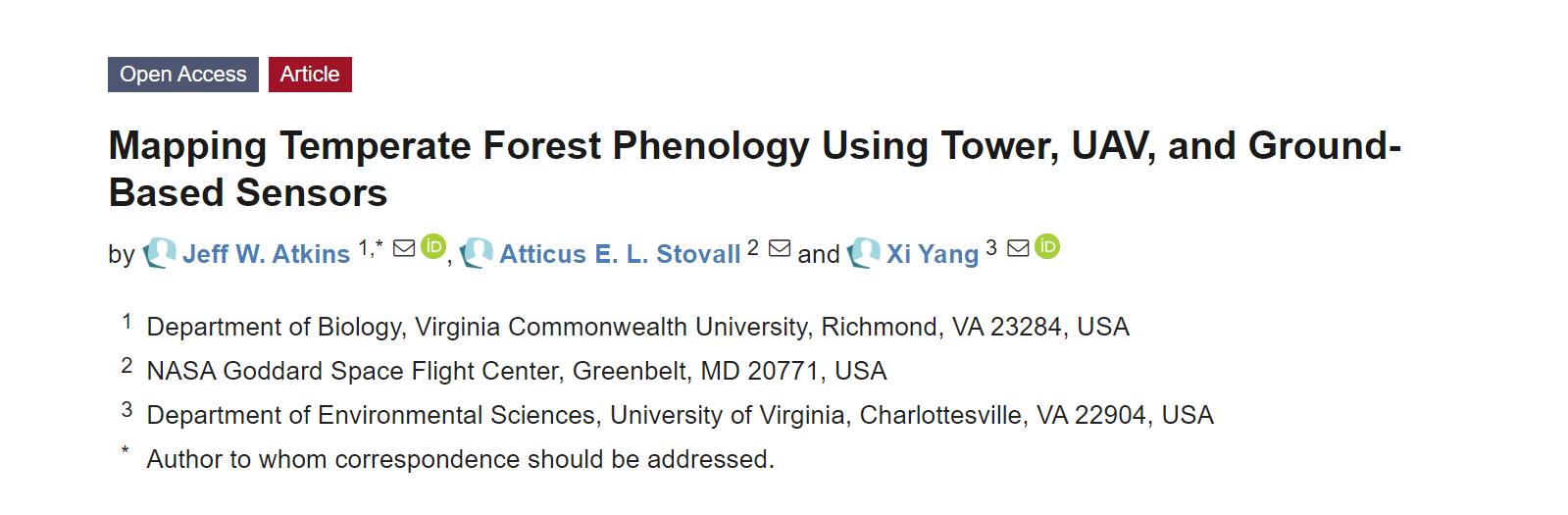 研究人员利用无人机和地面传感器绘制出温带森林物候图