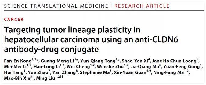 广州医科大学开发靶向肿瘤可塑性的特异性单抗偶联药物 