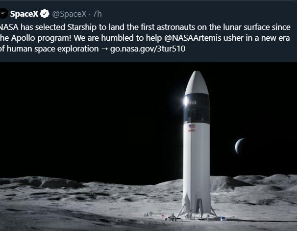 SpaceX获29亿美元商业载人着陆器大单,最早2024年上月球