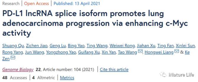 南京大学揭示了PD-L1基因通过增强c-Myc活性来促进肺腺癌的机制