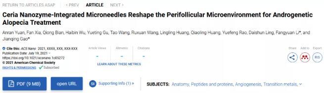 """脱发患者也能焕""""发""""生机?浙大设计了一种集成二氧化纳米酶的微针贴片"""