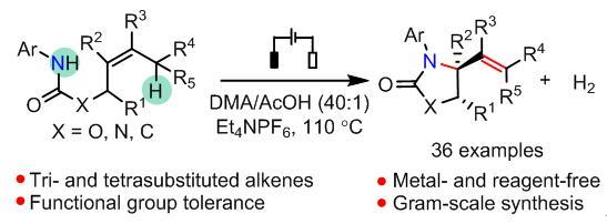 电化学氧化实现大位阻烯烃的氧化胺化反应