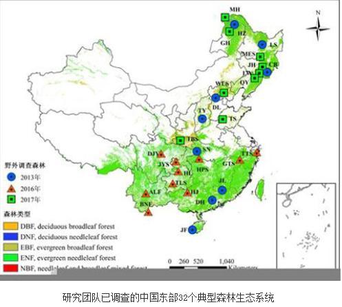 中国东部森林生态系统性状(植物、微生物、土壤)调查结果