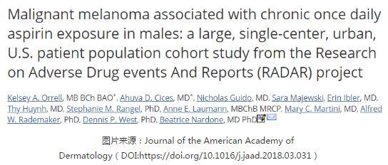 阿司匹林会增加男性患黑色素瘤的风险