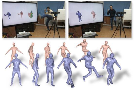 双重融合(DoubleFusion)揭示一个人衣服底下的身体的形状和位置