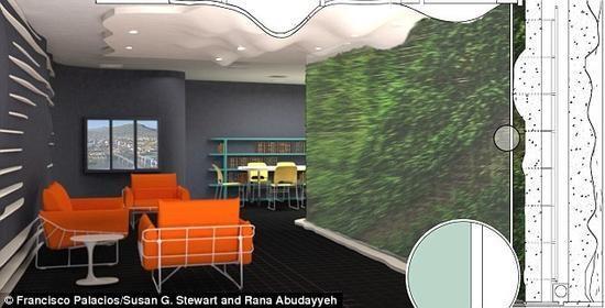 室内植物墙,探测到有害气体和病毒时自动变色!