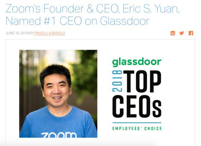 GlassDoor:袁征(Eric S.Yuan)成为全美员工心目中的最佳老板!