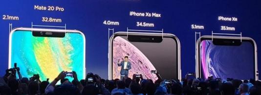 华为Mate 20与苹果iPhone XR边框之间的对比