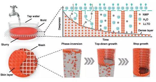 相转化法成功构筑具有非对称结构的钙钛矿固态电解质