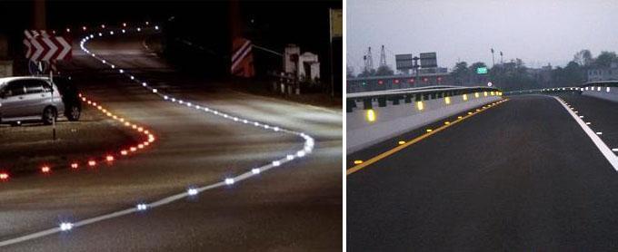 英格兰安装LED智能道钉帮助驾驶车辆不跑偏