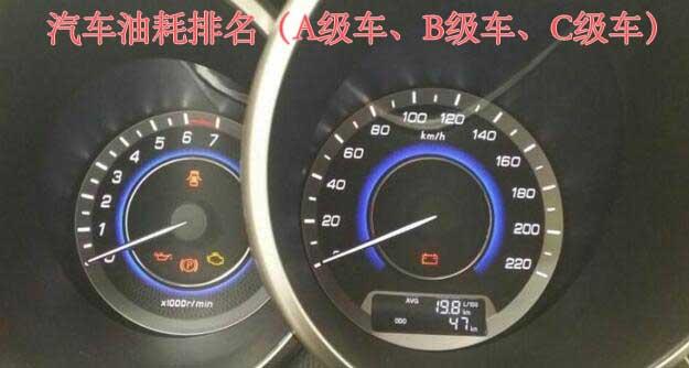 汽车油耗排名(A级车、B级车、C级车)