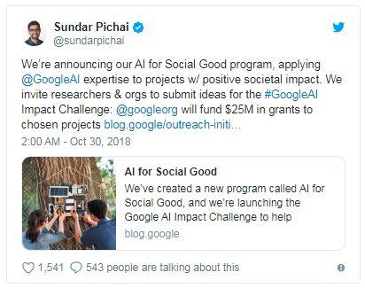 谷歌宣布提供2500万美元资助新的人工智能挑战