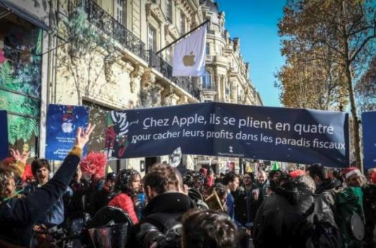 苹果因为逃税原因导致在法国巴黎开店遭游行抗议