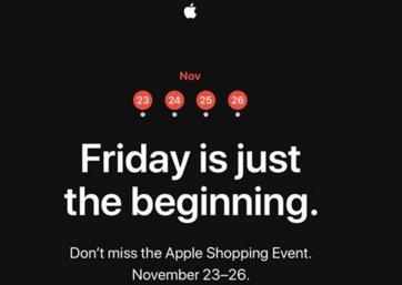 苹果将举办为期四天的特卖会,时间为11月23日-26日