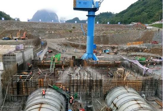 老挝南欧江一级水电站4台机组尾水管全部安装完成