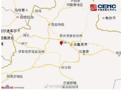 新疆发生4.5级地震 震源深度达10千米