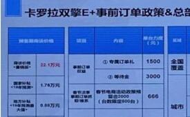 一汽丰田卡罗拉双擎E+车型预售价信息曝光,官方预售价为22.10万元