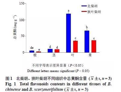 北柴胡和狭叶柴胡中黄酮类成分及其关键酶基因表达的组织差异分析
