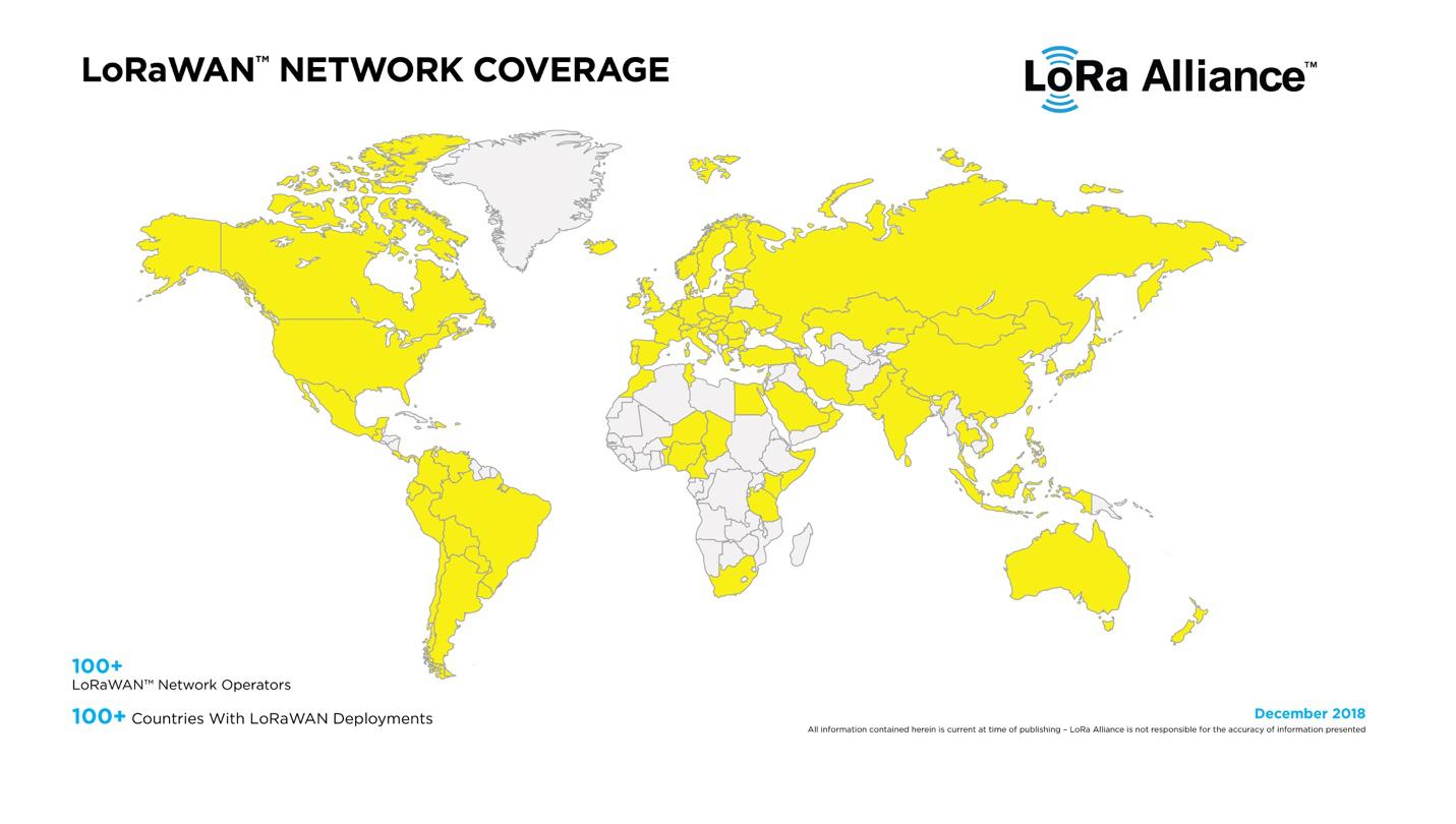 LoRa联盟:全球已有超百家的网络运营商部署了LoRaWAN