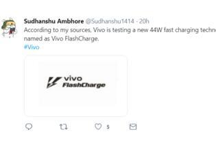 vivo被曝正在测试44W快充技术,此技术被命名为FlashCharge
