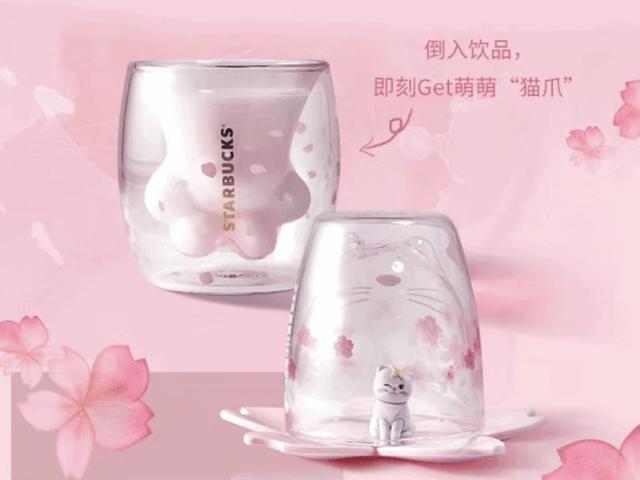 星巴克粉色猫爪双层玻璃杯引市民彻夜排队购买,价格从199元抬至1800元