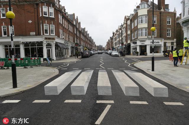 英国首个3D斑马线亮相伦敦西北部富人区圣约翰伍德